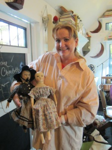 Susie and two of my dolls, the one on the left came back to visit during the retreat and to welcome her new sister, on the right, to the family.