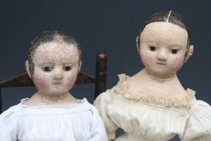 Charlcie, shown on the right, with my original antique Izannah, on the left, that her molds and pattern were taken from.