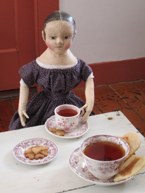 Welcome to our Valentine's Day Tea Party!  Would you care for a cup of violet tea and a mace shortbread cookie?