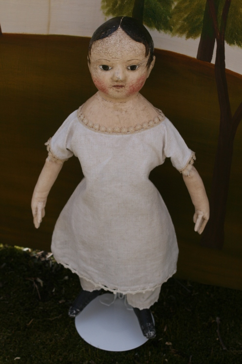 Possibly Bess, Bountiful, Bettany, or ??? My latest doll reminds me of the charming Izannah Walker doll at the South County Museum in Narragansett, Rhode Island.  There is something about the shape of her head and her expression that calls to mind the Rhode Island doll of a century and a half ago...