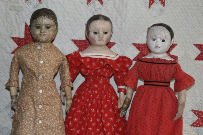 Three little maids all in a row!  My two antique Izannahs are on the left and Mary's doll, Anna, is on the right.