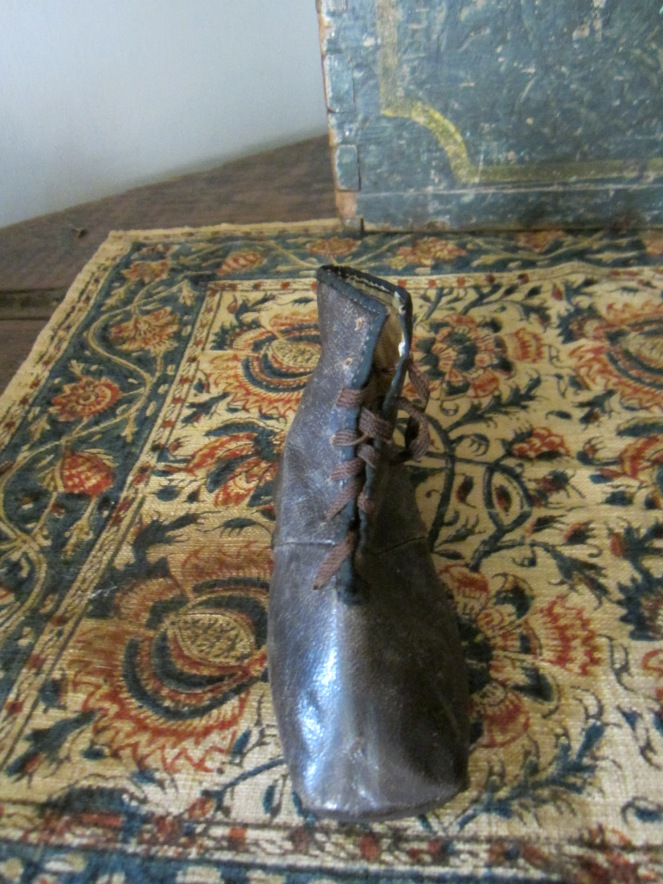 c. 1840-1850's child's black lace-up leather boot.