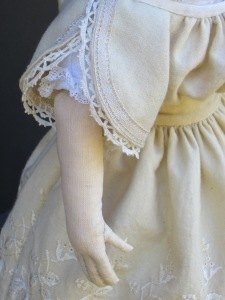 Details of the antique trims used on the sleeves of Isabeau's embroidered wool dress.