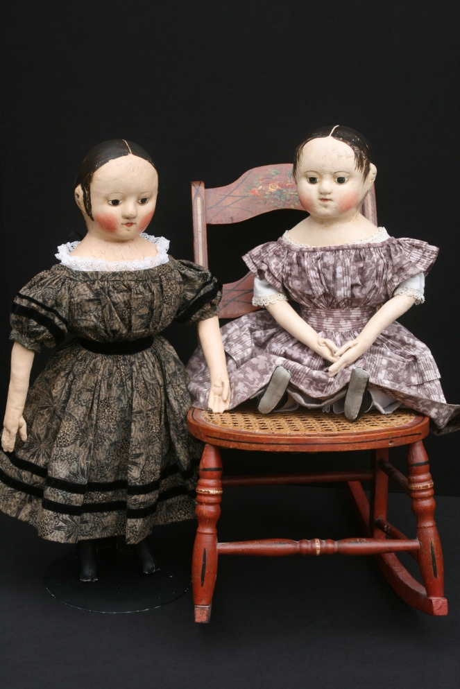 These two dolls are finished and looking for a loving new family.  The black dress that the doll on the left is wearing has been sold, so you may pick the style and fabric of her new dress!