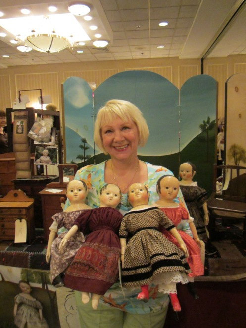 This is a photo of Mary with all of the dolls I have made from the mold of her Anna!  I loved being able to show them to her and to get an update on the real Anna's latest adventures.  Coincidentally a woman who was a previous  owner of Mary's other Izannah Walker doll, Pauline, was selling dolls just a few tables down from me.  What a small world!