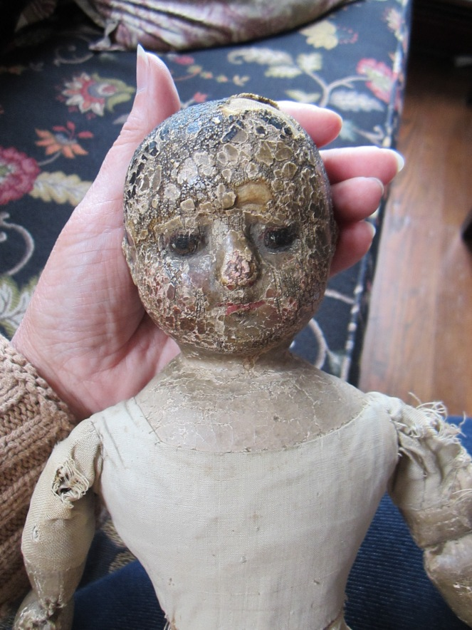 Yesterday this tiny antique Izannah Walker doll joined our household.