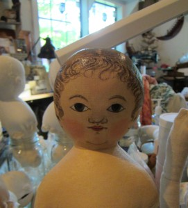 Work in progress.  An early photo of one of the dolls shown in my Prims article.
