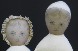 Two more flat face portrait dolls that I made to inspire my students.