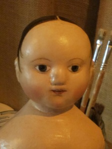 Here is a glimpse at the first reproduction of the antique Izannah Walker doll I purchased in November.