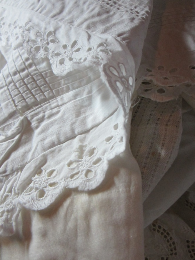 Some of the white textiles that we found on our weekend shopping expeditions.