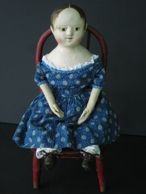 Mary also bought the antique blue trim that is around the neckline and sleeves of this dress.