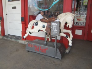 I loved this horse that lives outside of a great restaurant on Fredricksberg's main street.
