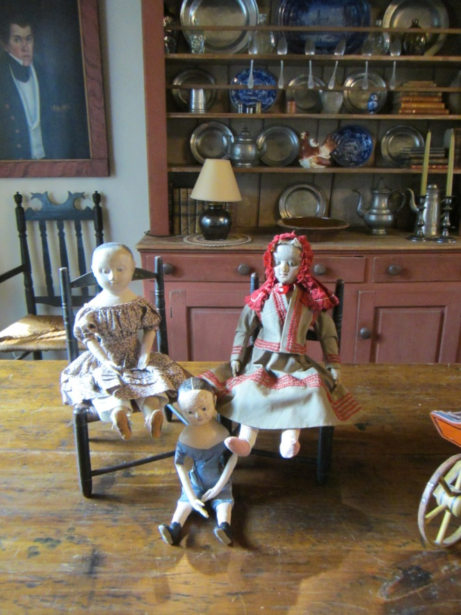 Izzybelle and Ismay are fast friends with Edyth's antique Izannah Walker doll.