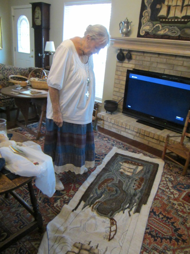 Edyth showed us the amazing hooked rug that she is currently working on.
