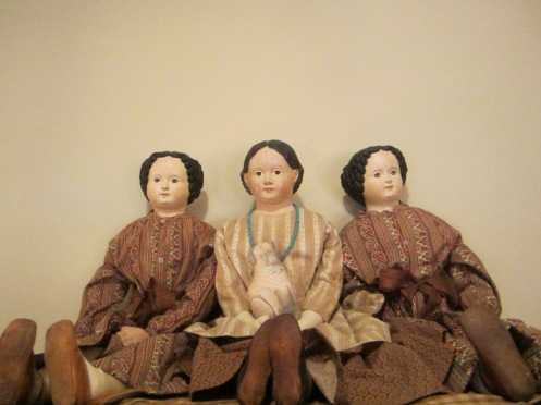 Edyth owns an amazing collection of papier-mache and china dolls, all of whom are beautifully dressed and artfully displayed.