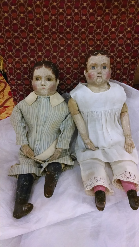 A pair of boy and girl post patent Izannah Walker dolls.