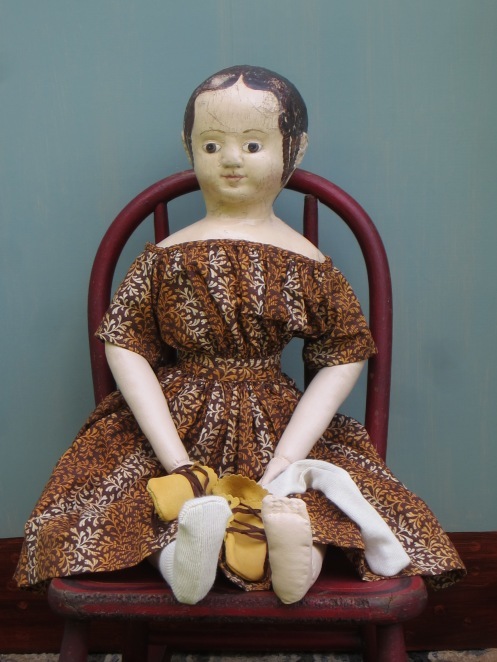 Meet Sharon's doll.  She is the first doll that I've made from this mold of a very special early Izannah walker doll.