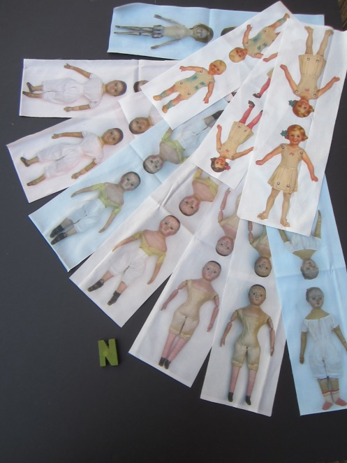 These are my new cut and stitch printed fabric doll panels.