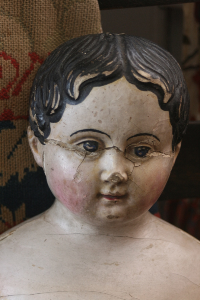 conserving an antique papier-mache doll www.izannahwalker.com