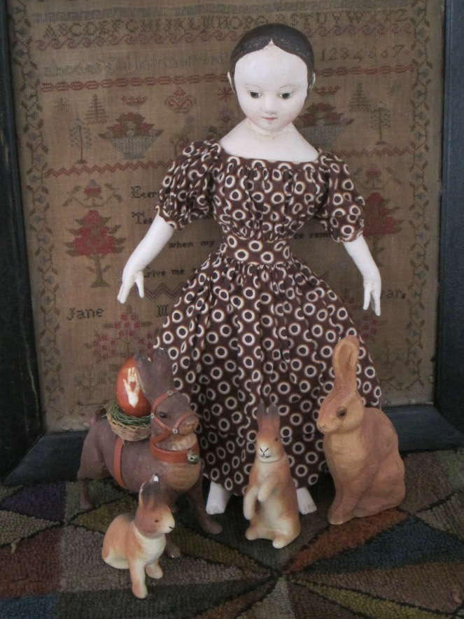 Melissa's doll spent an afternoon frolicking with the rabbits before she departed for her new home.