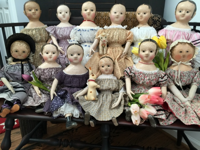I received this very special Easter photo from all of my dolls that are now part of a wonderful family.  A huge thank you to Susie for convincing the girl's to behave long enough to have their picture taken and for allowing me to share it with you! <3