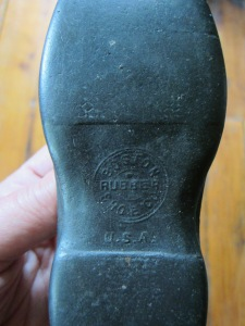 India Rubber Shoes, like these made by the Boston Rubber Shoe Company used to protect small feet during damp weather.  To read more about the fascinating story of India Rubber in early New England visit this site http://www.jmisc.net/jm980331.htm