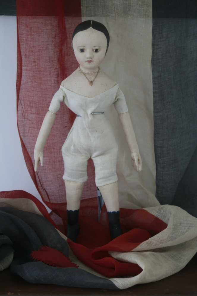 "This 18 inch tall, all cloth doll, is the third reproduction that I've made of my antique Izannah Walker doll ""Ismay""."