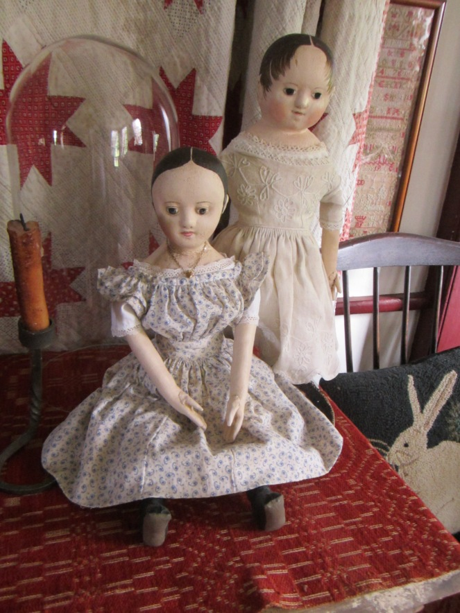Sally's doll stops to visit with another one of my reproduction Izannah Walker dolls, this one may from a mold of my friend Mary's doll Anna.