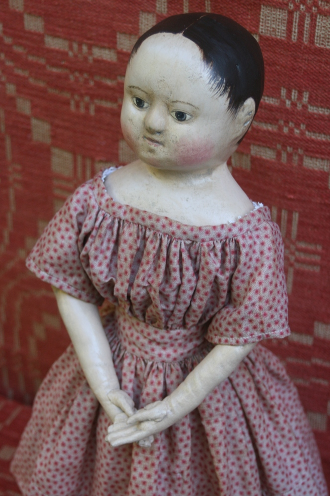 Other items newly posted for sale include this aged and beloved reproduction doll made from my Anna mold. SShe is such a wonderful doll! It doesn't show up well in her photos, but her body is so fantastic. Her arms and legs hang just right! As if they had lived through countless years of play time and naps. She is $1250 and if you buy her this weekend she comes with a tiny miniature antique tintype photograph. Scroll down the page to see many more images of this Anna.