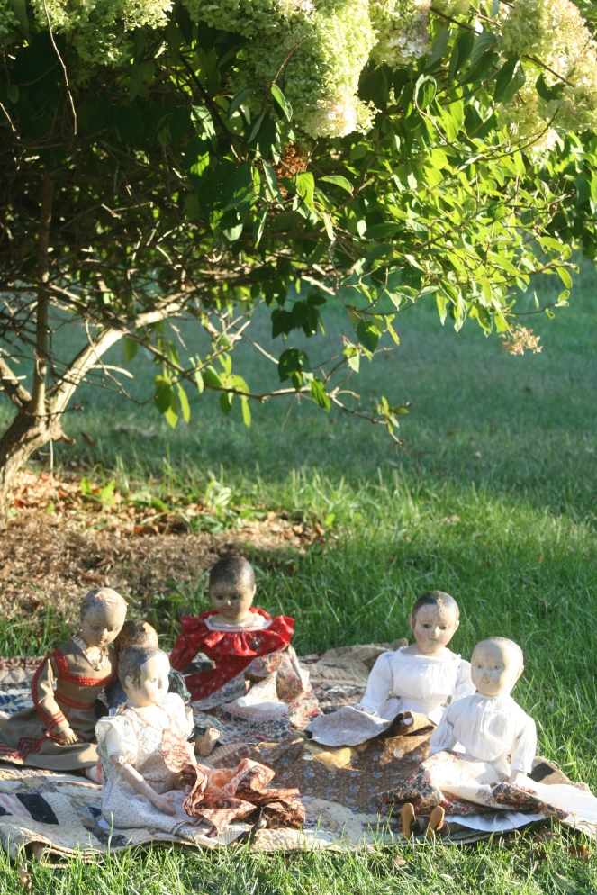 Sunny, late summer afternoons are the perfect time for the dolls to sit under the hydrangea tree and sew.