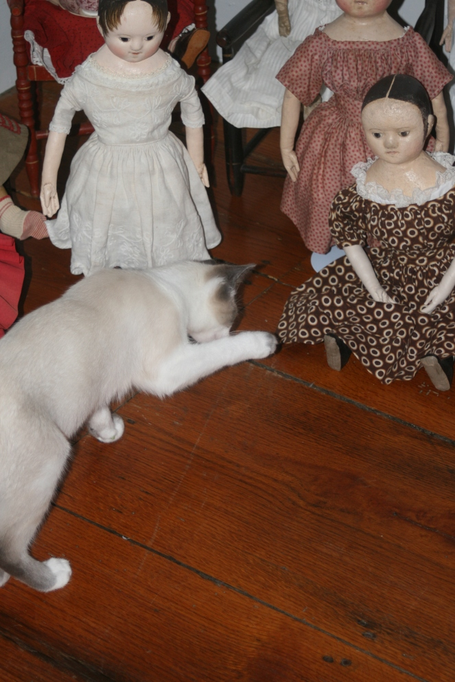 Jack very much wants to play with Billie's doll, who is another one of our party guests.