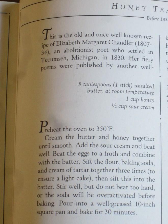 """""""Here it is, Honey Tea Cake."""""""