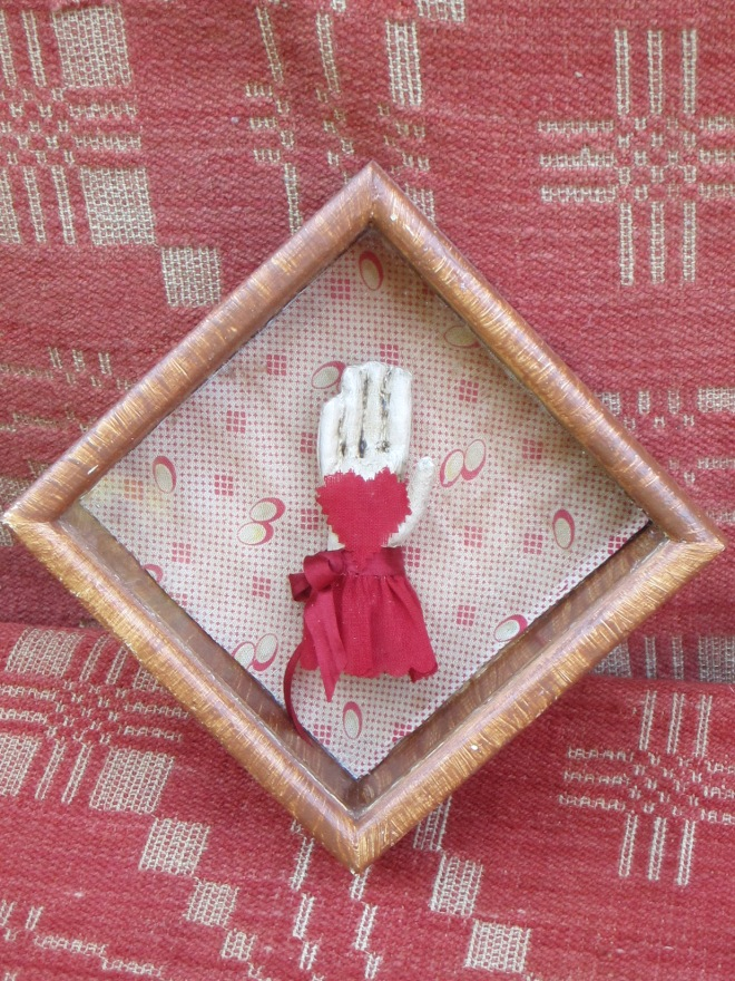 A different version of love token, framed in a miniature 4 inch square grain painted shadow box. $44, plus free U.S. shipping.