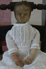 Eliza Jane finally has a name and a dress. :) She is the latest addition to my family of antique Izannah Walker dolls and is named after my great-grandmother, Eliza Jane Tarvin Stogner. Her dress and petticoat are antique that I purchased last summer and fit as if they were made for her. Once I find time to make a mold, Eliza Jane will bring the number of Izannah walker that I can reproduce for you up to twelve!