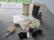 Assorted antique thread, lace, trim, ribbons and fabric from our stop in Sturbridge at one of my favorite antique shops.