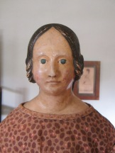 Close-up of the 1840's papier-mache doll I bought in NH.