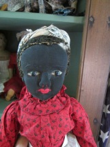 "I love this black stockinette doll, often referred to as a ""Beecher-type"" doll because people think it has a resemblance to the dolls made by Julia Beecher."