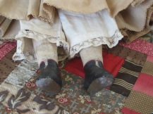 red trimmed painted boots and polka-dot lace <3