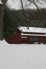 Snow covered painting studio.