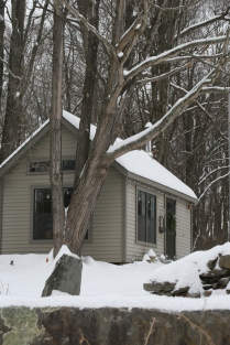 The sewing studio tucked into it's woodland home.