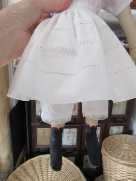 Isabeau has an extra linen petticoat with lovely hemstitched details.