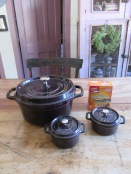 Getting ready... covered cast iron casserole pots are just right for baking crusty soda bread...
