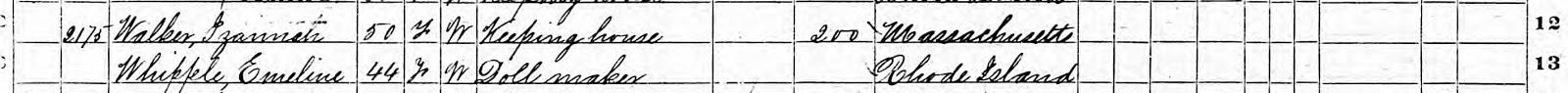 Izannah Walker 1870 Census detail