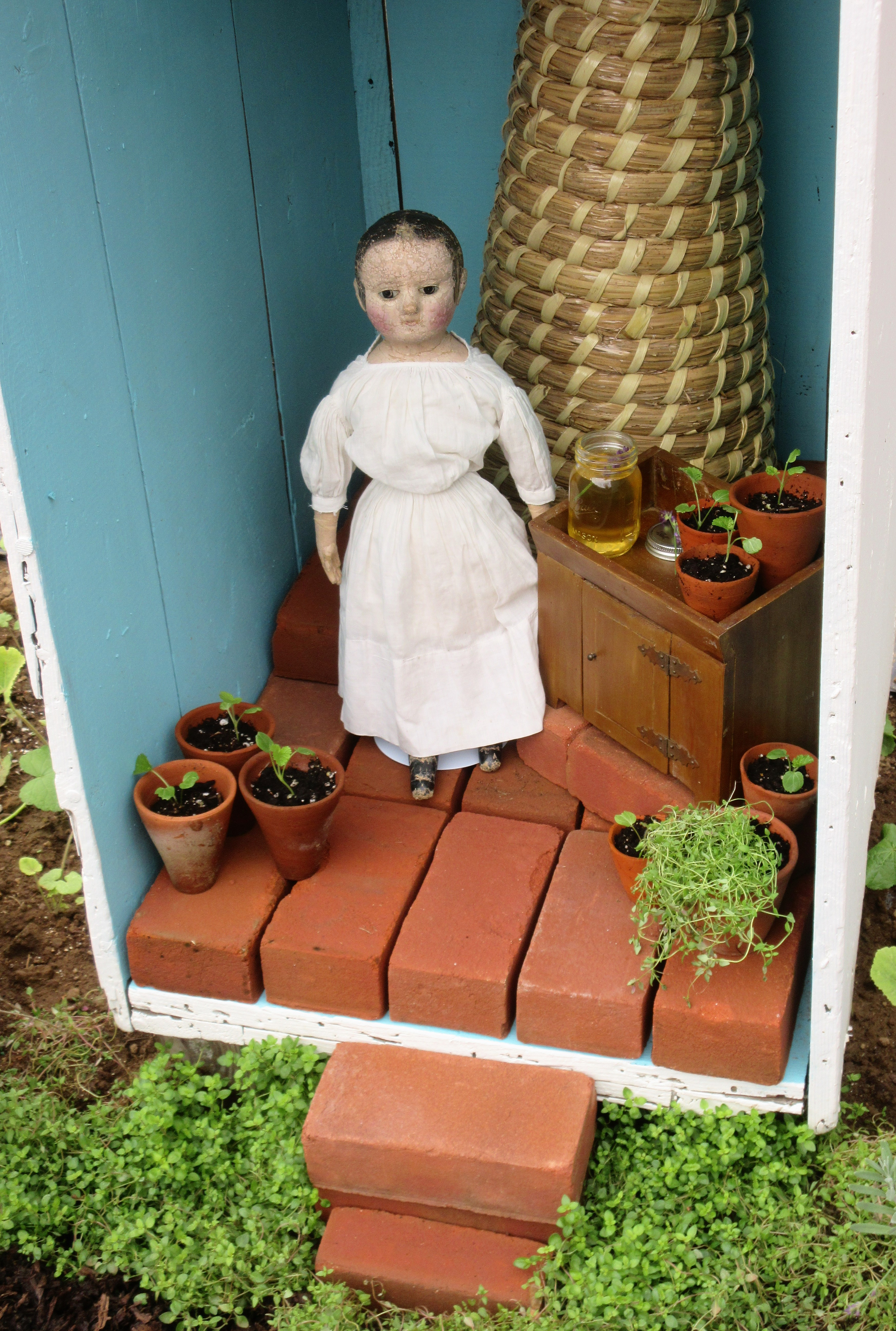 Isabeau in the potting shed