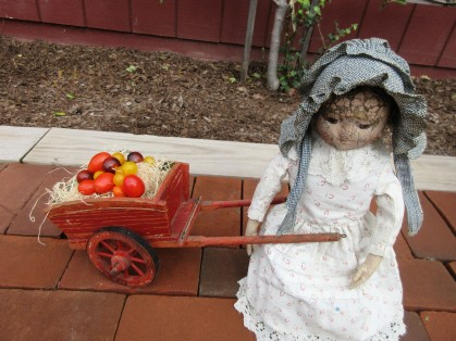 One of Izzybelle's chores is to pick the tomatoes.
