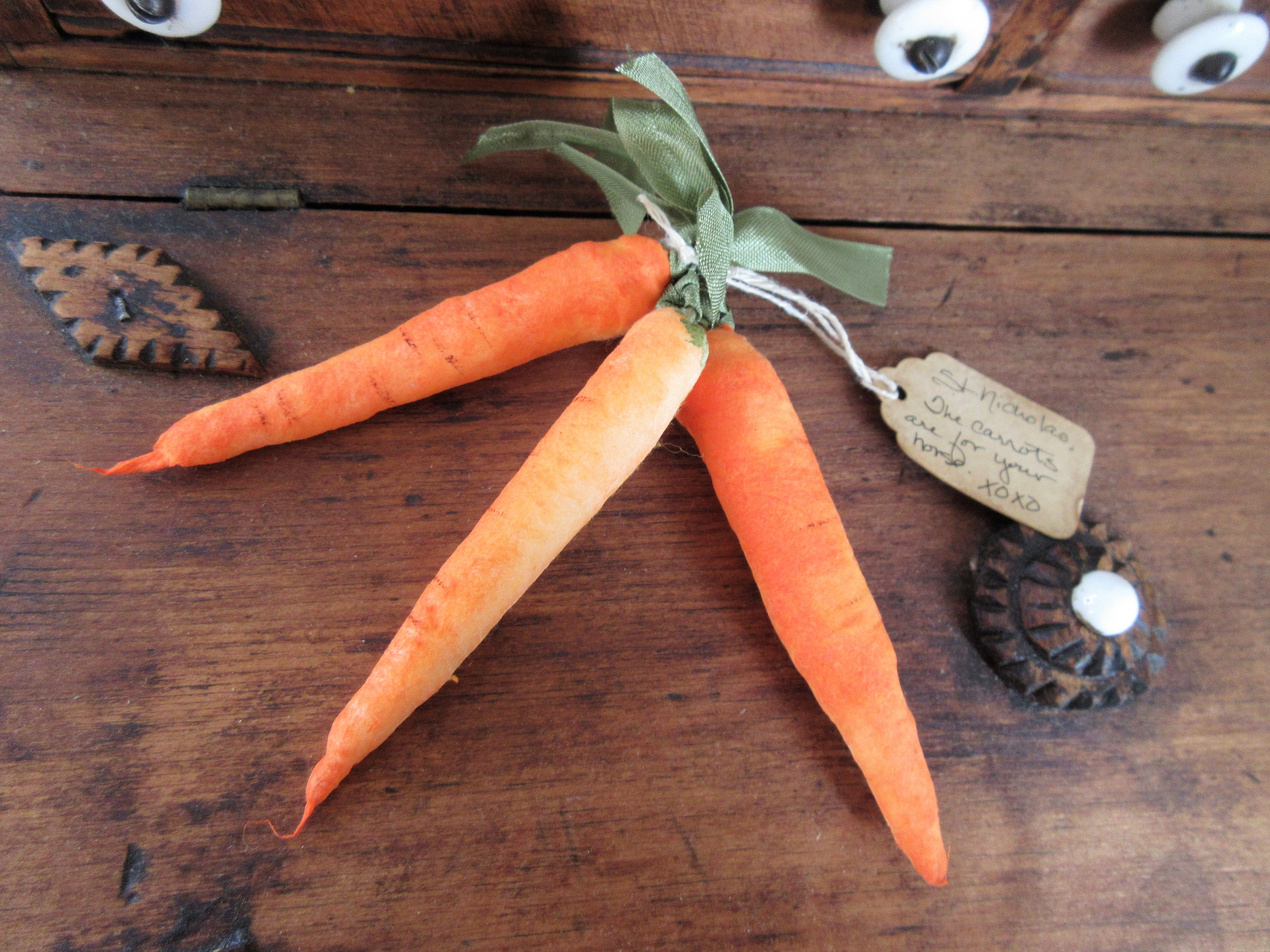Handmade Spun Cotton Carrots