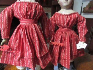 Close-up details of dresses 1 & 2